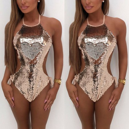Women's One Piece Sequins Swimsuits Monokini Swimwear Bathing Suit Push Up Bikini Beach Gold Size - Sequin Swimsuit