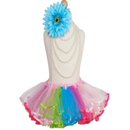 Efavormart 4 Layered Rainbow Girls Ballet Tutu Skirt for Dance Performance Events Wedding Party Banquet Event Dance Skirt