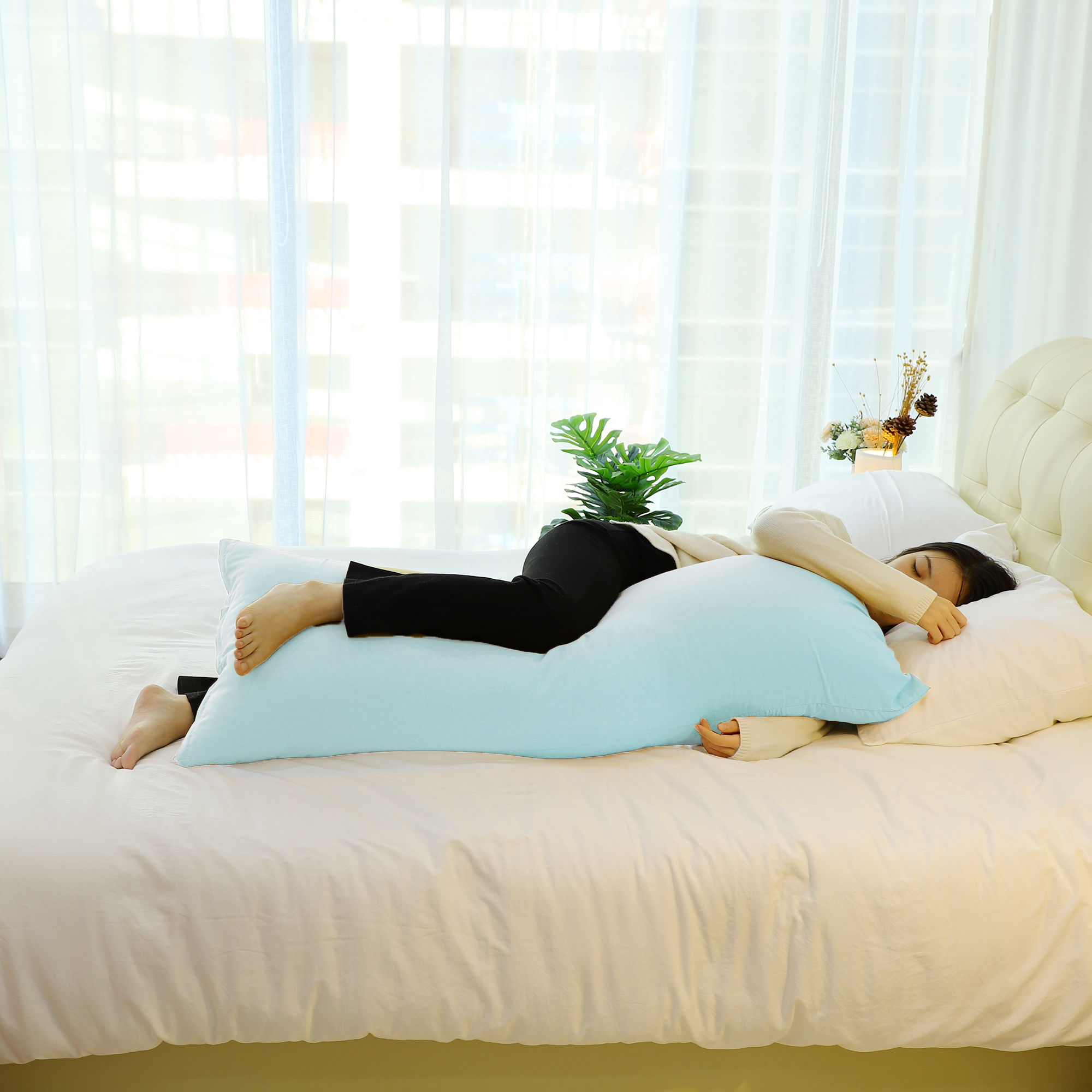Zippered Body Pillow Cover Soft Microfiber Long Pillowcases Spa Blue 20x60 - image 3 of 8