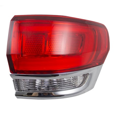 Passengers Taillight Tail Lamp Quarter Panel Mounted Lens w/ Chrome Trim Replacement for Jeep Grand Cherokee 68110016AE