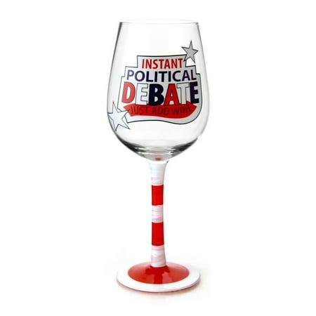 Our Name is Mud  Lorrie Veasey Political Debate Wine Glass, 8.875