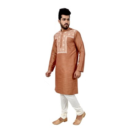 Indian Traditional Cotton Silk Light Brown Kurta Pajama for Men. This product is custom made to order. - image 3 de 6