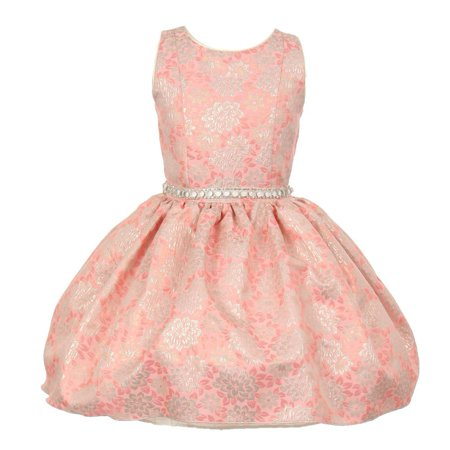 Little Girls Coral Jacquard Shiny Print Beaded Belt Flower Girl Dress 2T