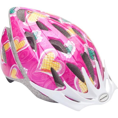 Schwinn Thrasher Girls' Bicycle Helmet, Pink Hearts, Child