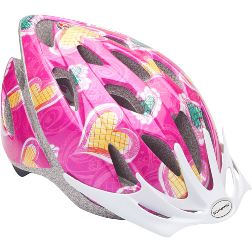 Schwinn Thrasher Girls' Bicycle Helmet, Pink Hearts, Child