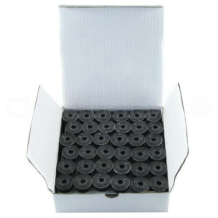 CleverDelights Black Prewound Bobbins - Size L Bobbins - 60wt Thread - Plastic Sided - 36 Pack