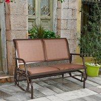 Gymax 48'' Outdoor Patio Swing Glider Bench Chair Loveseat Rocker Lounge Backyard Brown