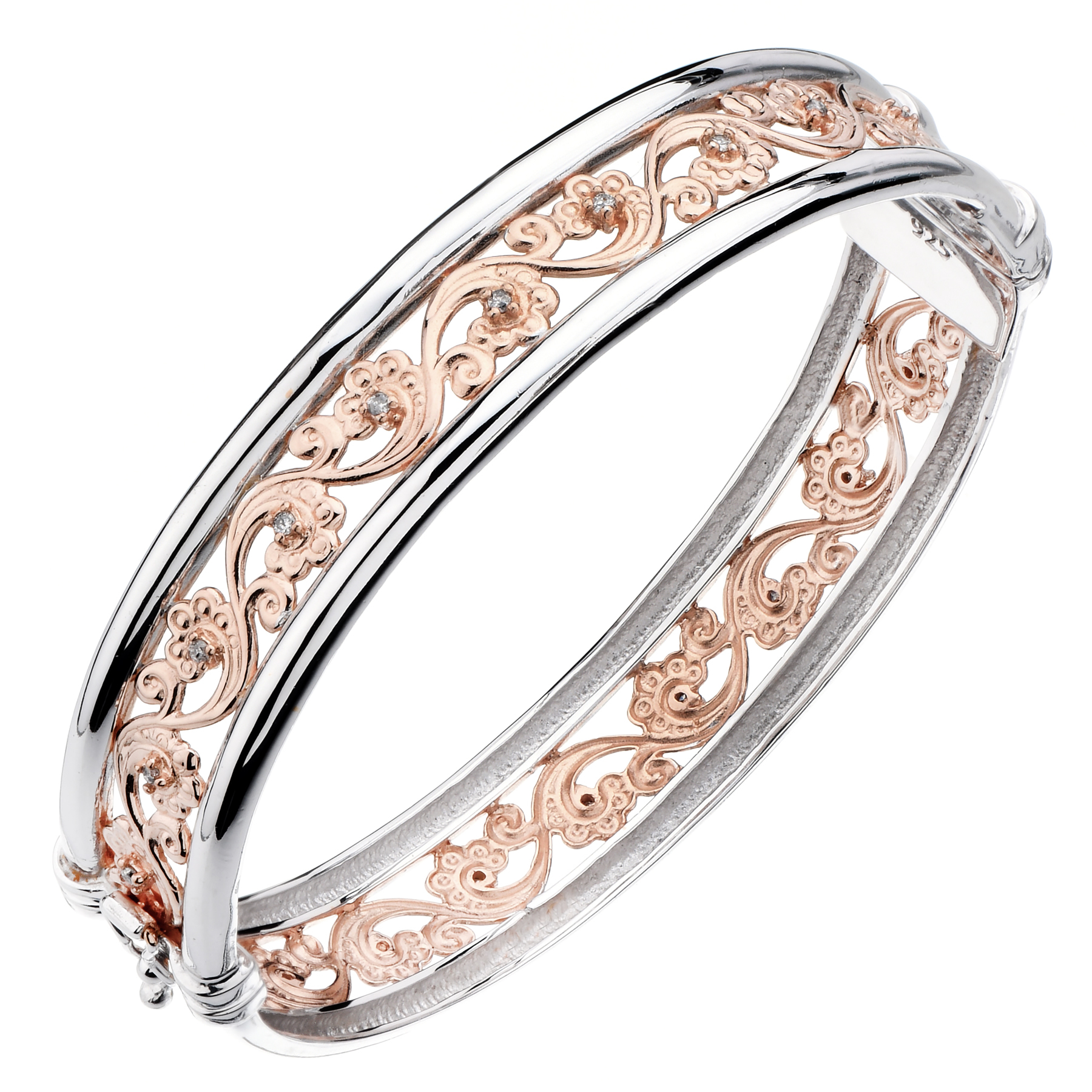 Yellow or Pink Gold Plated Diamond Bangle (1/5 CT)