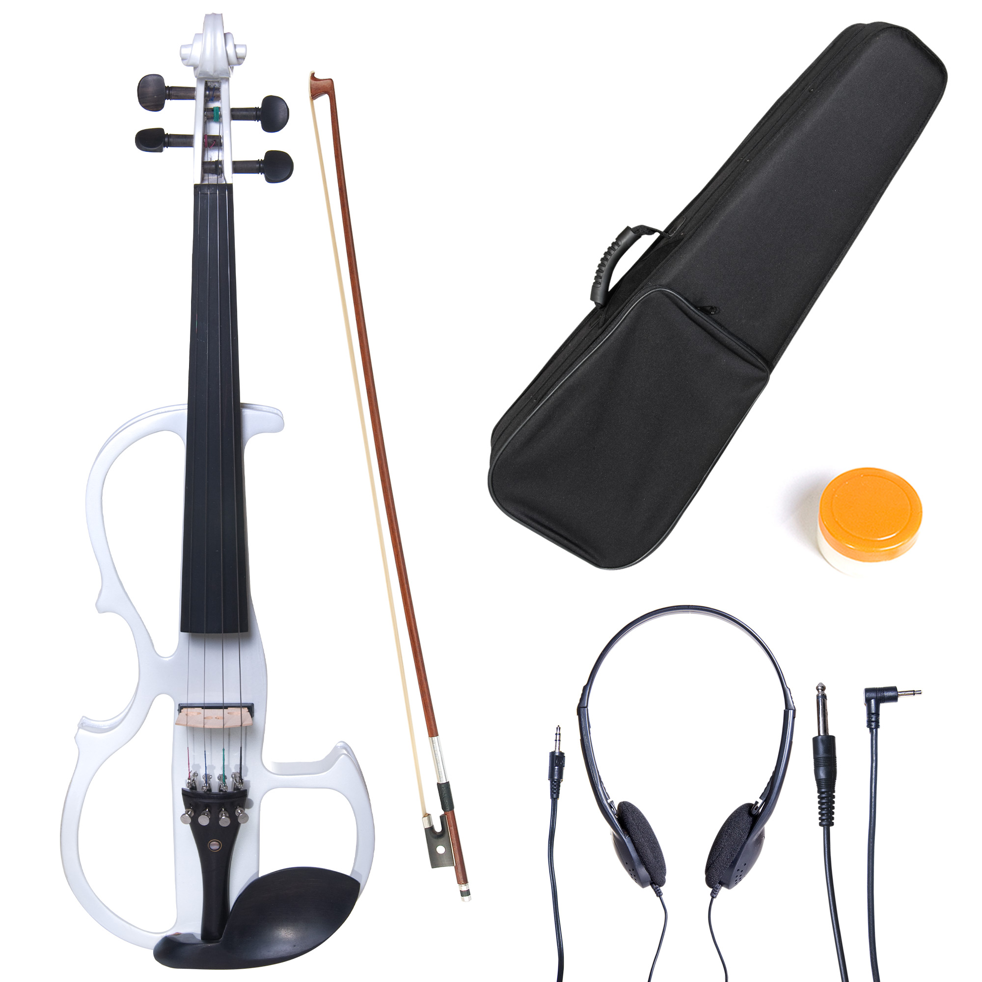 Cecilio Full Size Left-Handed Solid Wood Electric Silent Violin with Ebony Fittings-L4/4CEVN-L2W Pearl White