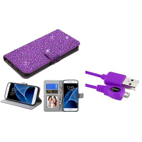 Insten Leather Wallet Bling Case with Card holder & Photo Display For Samsung Galaxy S7 - Purple (+ Micro USB cable)