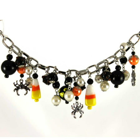 Halloween Candy Bracket (Halloween CANDY CORN AND CROWS BRACELET Glass Metal Beads Silvestri)