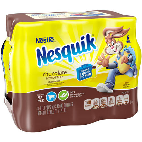 Nestle Nesquick Chocolate Lowfat Milk, 6 / 8 oz bottles