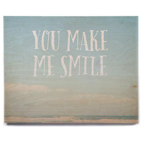 East Urban Home Beach Sky 'You Make Me Smile' Textual Art on Wood