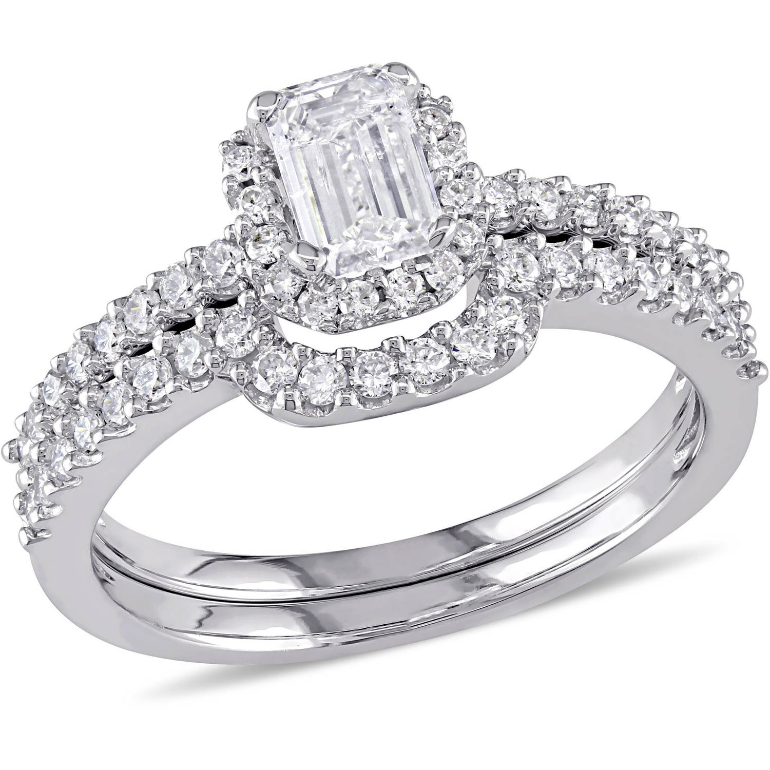 Miabella 1 Carat T.W. Diamond 14kt White Gold Halo Bridal Set