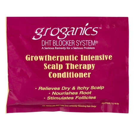 (2 Pack) Groganics DHT Blocker System Growtherputic Intensive Scalp Therapy Conditioner, 1.7 FL (Best Ogx Dht Blockers)