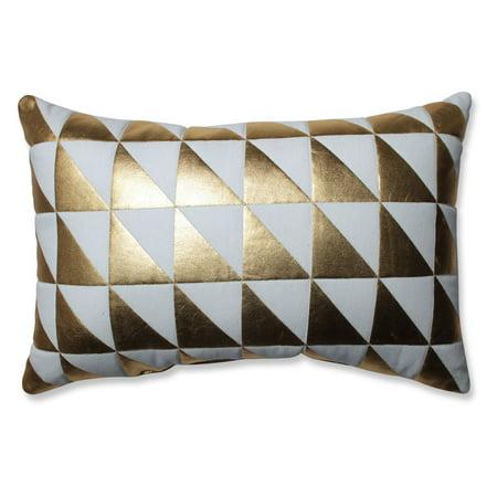 Glamour Triangle Gold White Rectangular Throw Pillow ()