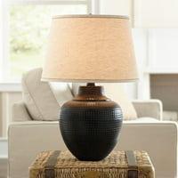Barnes and Ivy Rustic Table Lamp Hammered Bronze Metal Pot Beige Linen Drum Shade for Living Room Family Bedroom Nightstand