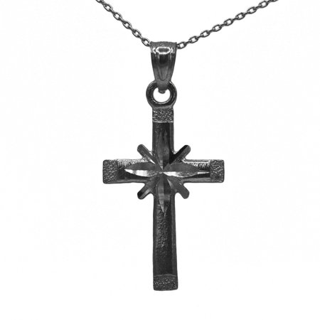 925 Black Rhodium Sterling Silver Cross Pendant with 18