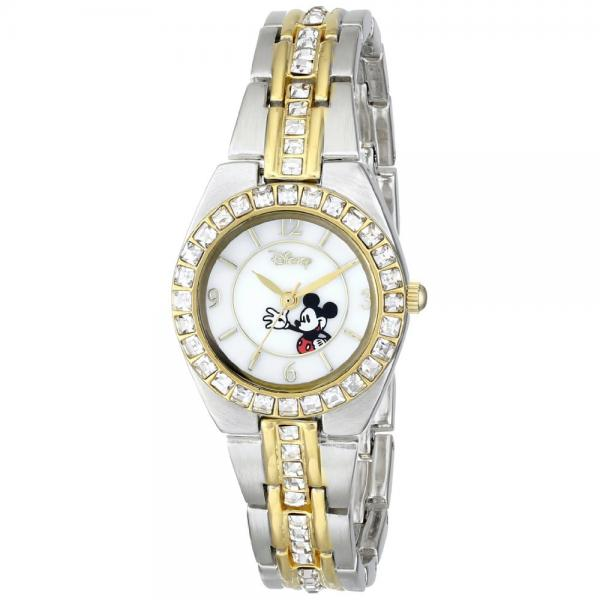 Disney MK2003 Womens Mickey Mouse Mop Two-Tone Rhinestone Accent Watch