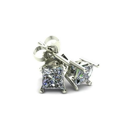 .66Ct Square Princess Cut Natural Diamond Stud Earrings in 14K Gold Basket Setting