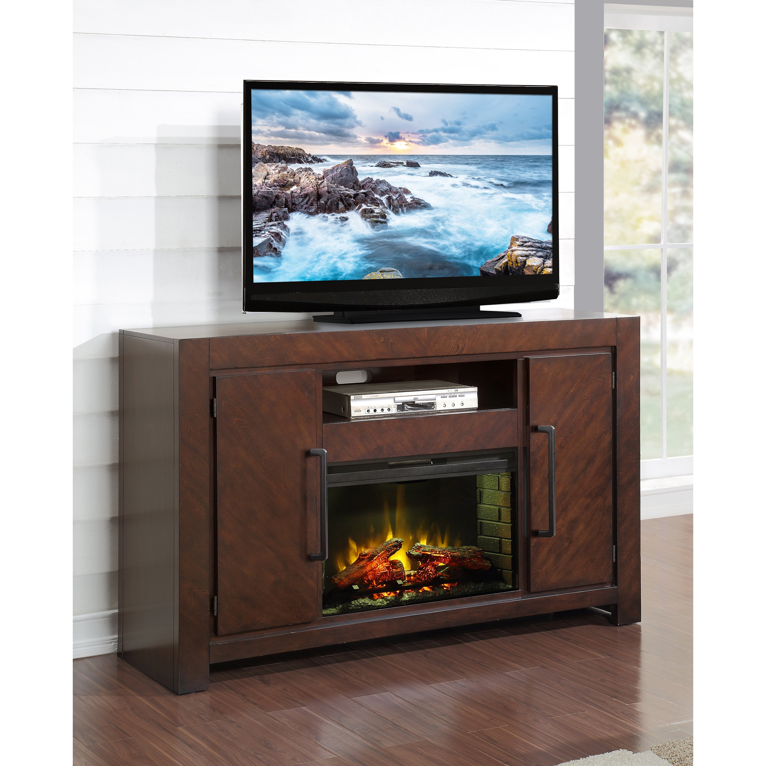 Legends Furniture City Lights 62 in. Electric Media Fireplace