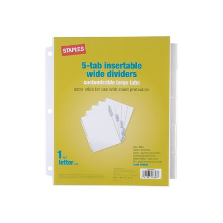 Staples Extra Wide Insertable Paper Dividers 5-Tab Clear (13494/11221) (Extra Wide Insertable Indexes)