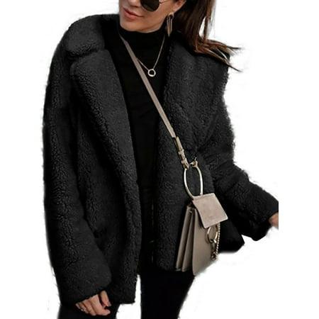 Luxury Faux Fur Long Sleeve Women Coat Fleece Winter Warm Jacket Teddy Bear Coat (Bench Fleece Jacket Women)