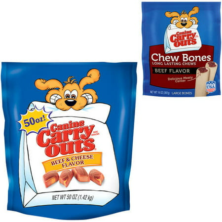Canine Carry Outs Beef & Cheese and Chew Bones Beef Flavor Snacks Value Bunlde