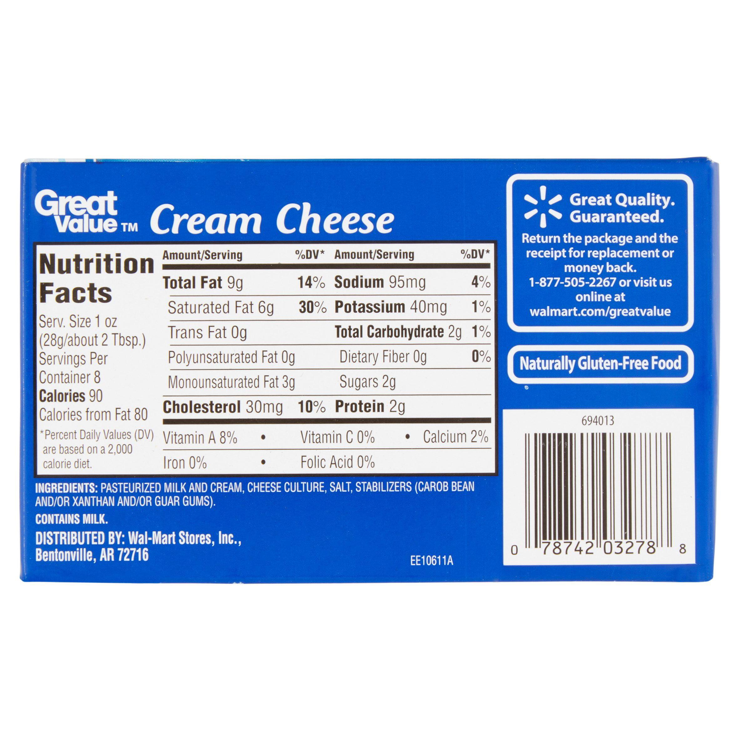 cream cheese nutrition label