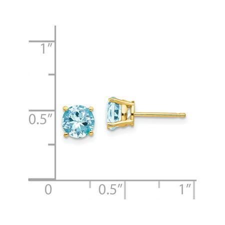 Boucles d'oreilles en or jaune 14k (Aquamarine) de 6x6mm - image 3 de 3