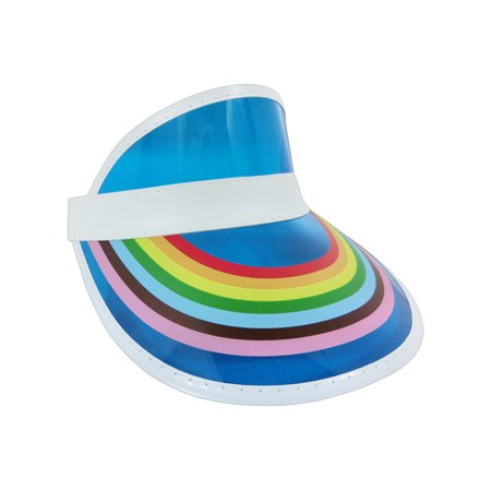 Retro Rainbow Color Sun Visor Tennis Beach Plastic Clear Bingo Vegas Golf Hat