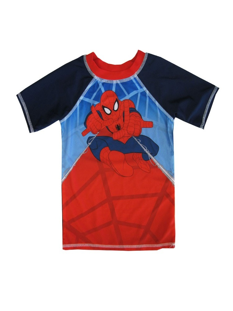 Marvel Little Boys Red Blue Spiderman Print Short Sleeved Rashguard 2T