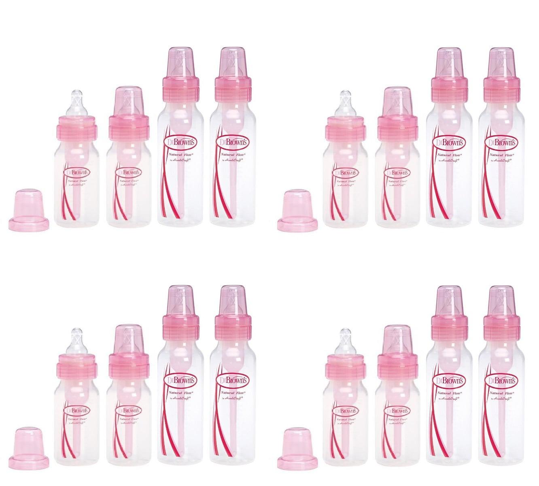 Dr. Browns Pink Bottles 4 Pack (2 - 8 oz bottles) and (2 - 4 oz bottles) (Pack of 4)