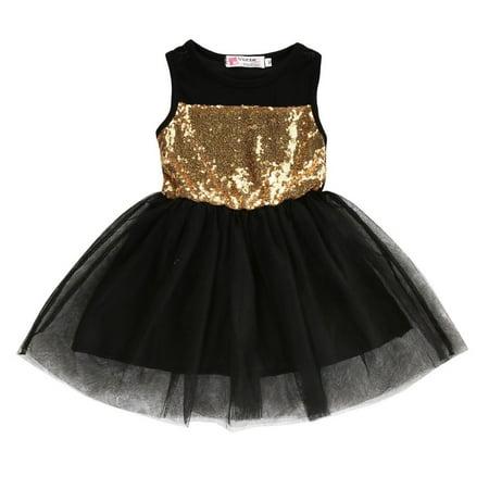 Kids Girls Children Dresses Sleeveless Sequins Wedding Princess Party Dress For 2-7 Years (Drees For Kids)