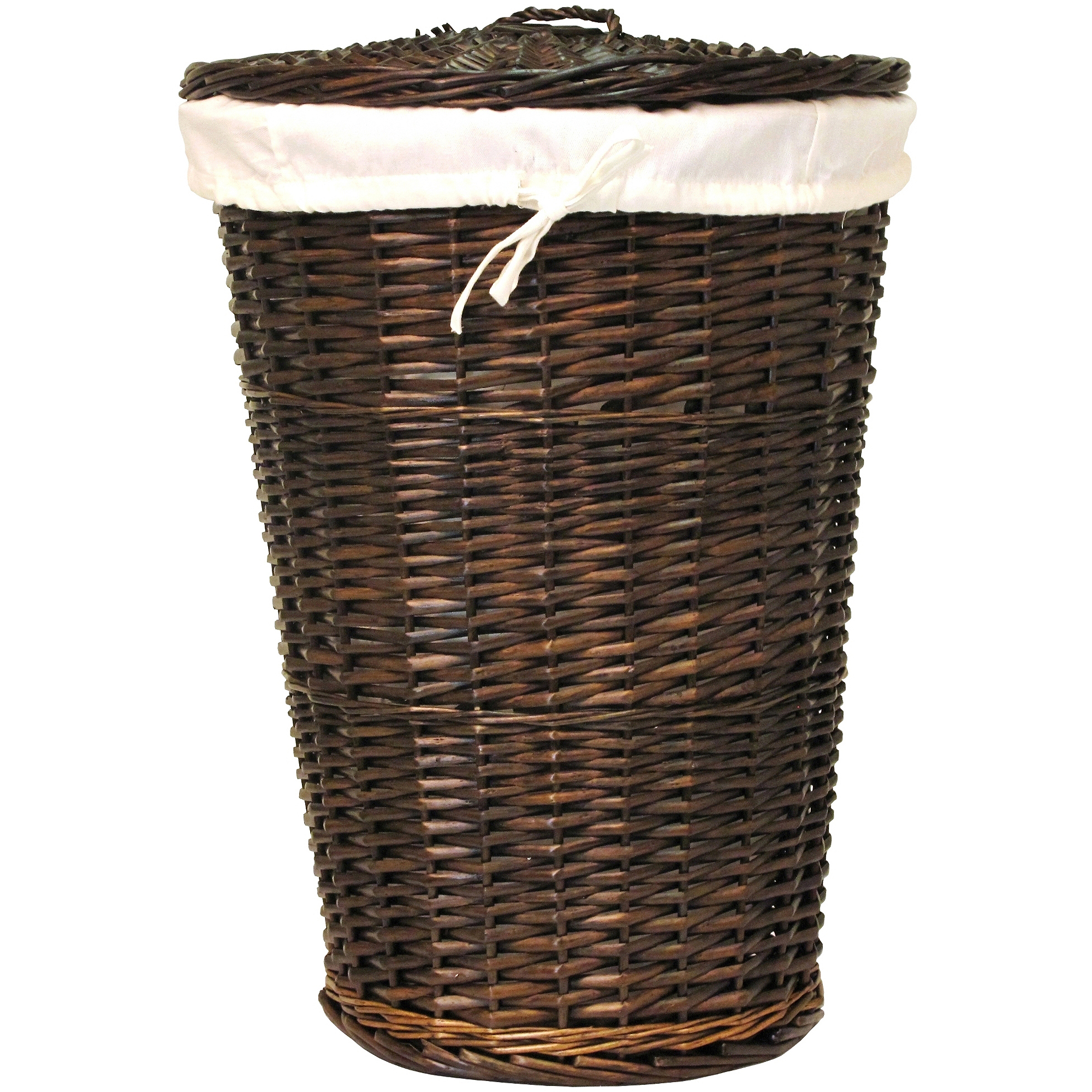 Bathroom storage cabinet with hamper - Round Willow Hamper With Matching Lid