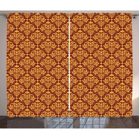 Vintage Tile Patterns - Antique Curtains 2 Panels Set, Victorian Vintage Revival Pattern with Damask Motifs Old Tile, Window Drapes for Living Room Bedroom, 108W X 108L Inches, Chesnut Brown and Pale Orange, by Ambesonne
