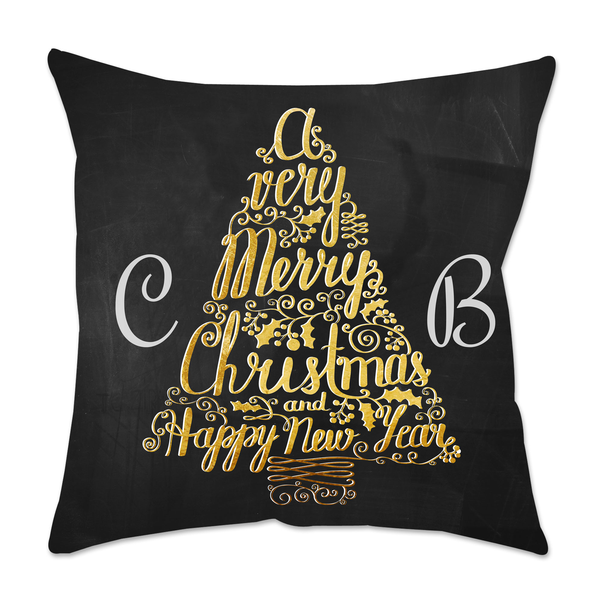 Personalized Metallic Tree Poplin Square Throw Pillow in Black