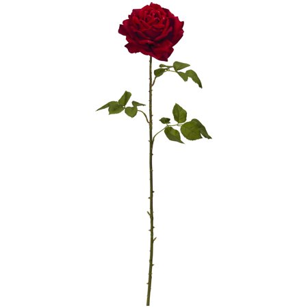 "(Nearly Natural 33"" Elegant Red Giant Rose Artificial Flower (Set of 4))"