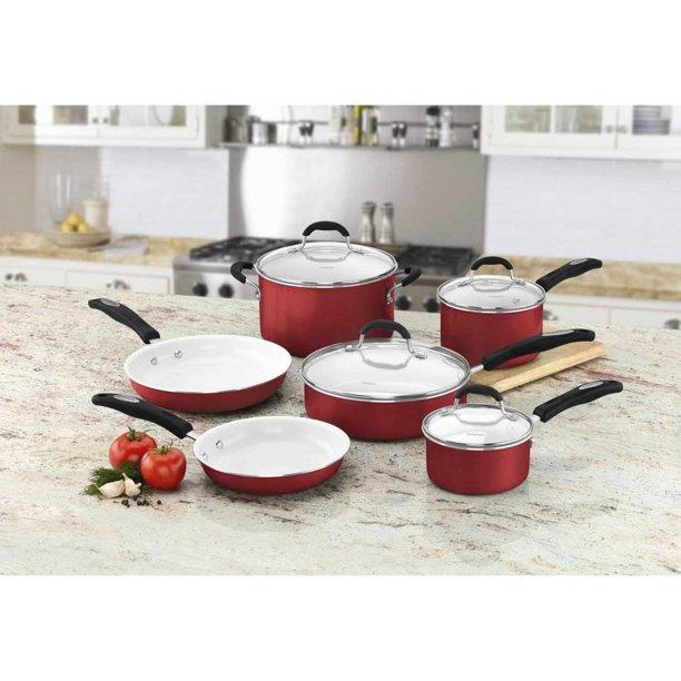 Cuisinart Elements 10 Piece Non Stick Kitchen Cookware Set Red Walmart Com Walmart Com