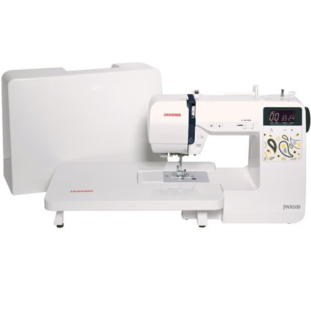 Janome JW8100 Fully-Featured Computerized Sewing Machine with 100 Stitches, 7 Buttonholes, Hard Cover, Extension Table and 22 (Usha Janome Dream Stitch Sewing Machine Review)