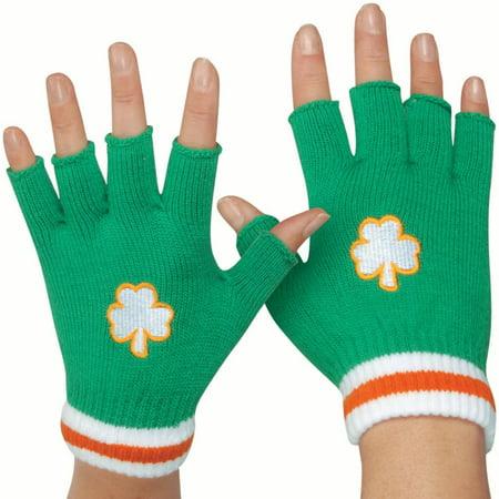 Star Power Irish St Patricks Day Short Woven Fingerless Gloves, Green, One Size