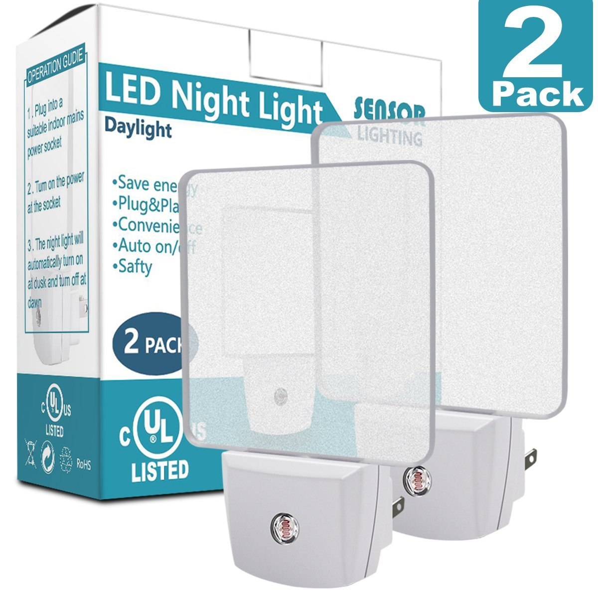 LED Night Light with Smart Light Sensor, Costech UL Listed Plug in Cordless Wall Light with Daylight Auto Sensor On/Off Dusk to Dawn for Bedroom, Bathroom, Hallway, Stairway, Kitchen (2 Pack)