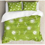 Dragonfly King Size Duvet Cover Set, Sketch Style Dandelion Flower Petals Spring Beauty Nature Blossom Image, Decorative 3 Piece Bedding Set with 2 Pillow Shams, Lime Green Cream, by Ambesonne