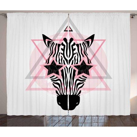 Pink Zebra Curtains 2 Panels Set, Zebra Head Star Eyes Boho Portrait Geometric Primitive Effect Ethnic, Window Drapes for Living Room Bedroom, 108W X 96L Inches, Baby Pink Black White,