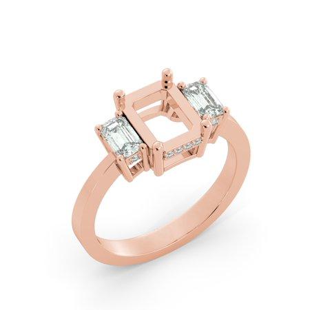 Emerald Semi Mount Ring - Emerald 3 Stone Diamond Semi Mount Bridal Round Engagement Ring 18k Rose Gold