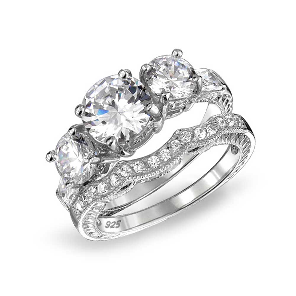 .925 Silver Vintage Style 3 Stone CZ Wedding Engagement Ring Set