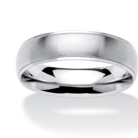 - Men's Comfort Fit Brushed Stainless Steel Wedding Band (6mm)