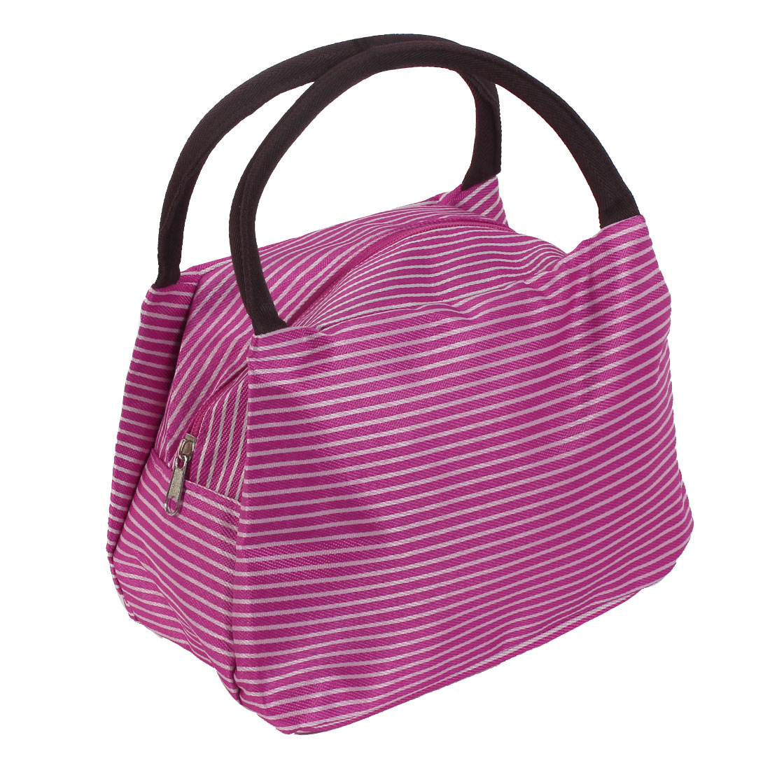 Stripe Pattern Women Makeup Pouch Holder Handbag Cosmetic Bags Fuchsia