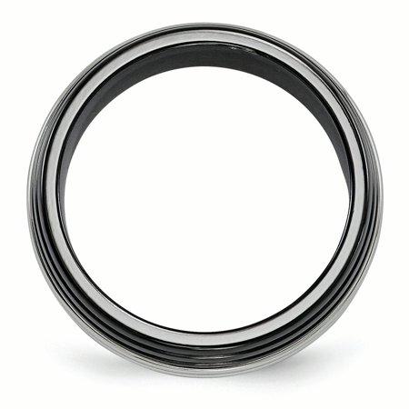 Edward Mirell Black Ti & Stainless Steel Polished 9mm Band Size 10 - image 1 de 4