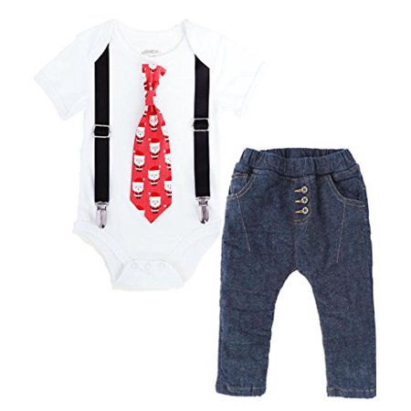 Noah's Boytique Baby Boys Santa Tie Christmas Outfit Tie Suspenders and Jean Pants Set Newborn Black - Christmas Outfit Boys